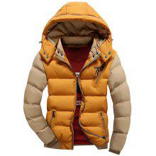 Two Tone Detachable Hood Graphic Padded Jacket