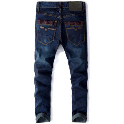 Zip Fly Panel Design Straight JeansMens Pants<br>Zip Fly Panel Design Straight Jeans<br><br>Closure Type: Zipper Fly<br>Fit Type: Regular<br>Material: Cotton, Polyester<br>Package Contents: 1 x Jeans<br>Pant Length: Long Pants<br>Pant Style: Straight<br>Waist Type: Mid<br>Wash: Medium<br>Weight: 0.7300kg<br>With Belt: No