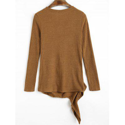 Irregular Ruched Ribbed KnitwearSweaters &amp; Cardigans<br>Irregular Ruched Ribbed Knitwear<br><br>Collar: Round Neck<br>Elasticity: Elastic<br>Material: Acrylic, Spandex<br>Package Contents: 1 x Knitwear<br>Pattern Type: Solid<br>Sleeve Length: Full<br>Style: Casual<br>Type: Pullovers<br>Weight: 0.3200kg