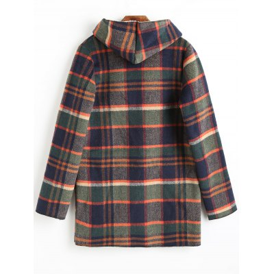 Thicken Button Up Hooded Plaid CoatJackets &amp; Coats<br>Thicken Button Up Hooded Plaid Coat<br><br>Closure Type: Single Breasted<br>Clothes Type: Wool &amp; Blends<br>Collar: Hooded<br>Embellishment: Pockets<br>Material: Acrylic<br>Package Contents: 1 x Coat<br>Pattern Type: Plaid<br>Shirt Length: Regular<br>Sleeve Length: Full<br>Style: Fashion<br>Type: Wide-waisted<br>Weight: 1.1500kg<br>With Belt: No