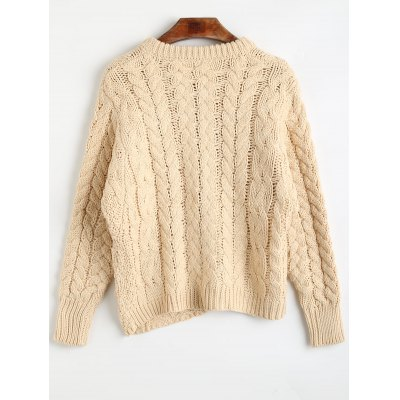 Round Neck Chunky Cable Knit SweaterSweaters &amp; Cardigans<br>Round Neck Chunky Cable Knit Sweater<br><br>Collar: Round Collar<br>Material: Acrylic<br>Package Contents: 1 x Sweater<br>Pattern Type: Solid<br>Sleeve Length: Full<br>Style: Fashion<br>Technics: Crocheted<br>Type: Pullovers<br>Weight: 0.6700kg