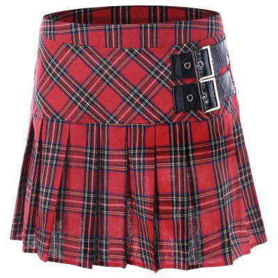 Buckles Plaid Pleated A-line SkirtSkirts<br>Buckles Plaid Pleated A-line Skirt<br><br>Length: Mini<br>Material: Cotton<br>Package Contents: 1 x Skirt<br>Pattern Type: Plaid<br>Season: Fall, Spring<br>Silhouette: A-Line<br>Weight: 0.1840kg