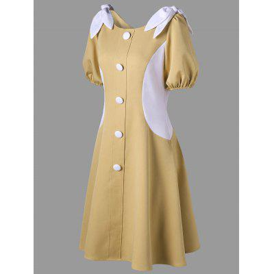 Puff Sleeve Button Up Vintage DressWomens Dresses<br>Puff Sleeve Button Up Vintage Dress<br><br>Dresses Length: Mini<br>Material: Polyester<br>Neckline: Round Collar<br>Package Contents: 1 x Dress<br>Pattern Type: Others<br>Season: Fall, Spring<br>Silhouette: A-Line<br>Sleeve Length: Half Sleeves<br>Style: Vintage<br>Weight: 0.4490kg<br>With Belt: No