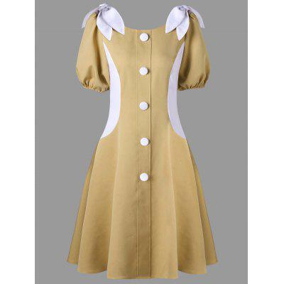 Puff Sleeve Button Up Vintage Dress