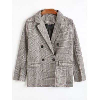 Houndstooth Double Breasted Blazer with Pockets