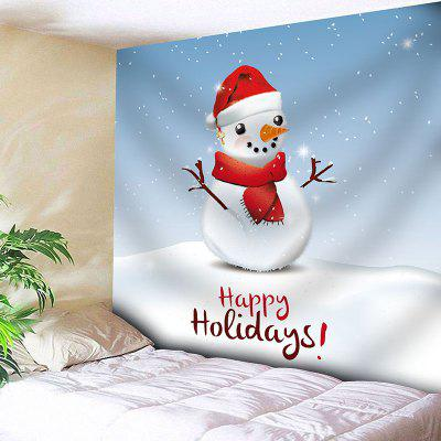 Happy Holiday Christmas Snowman Print Wall Art Tapestry