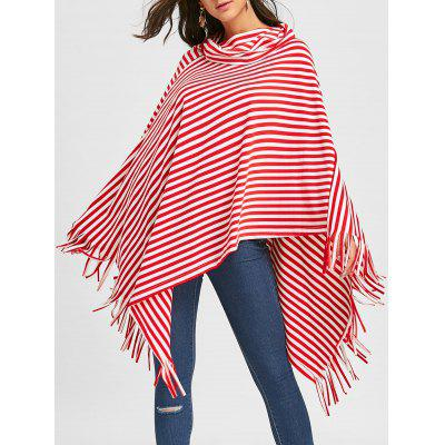 Cowl Neck Fringe Striped Poncho