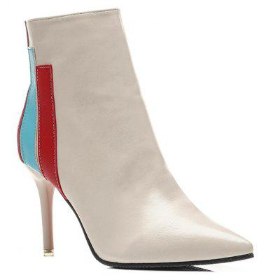 Color Block Striped Stiletto Heel Boots