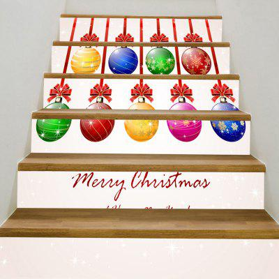 Colorful Christmas Balls Printed Decorative Stair Stickers