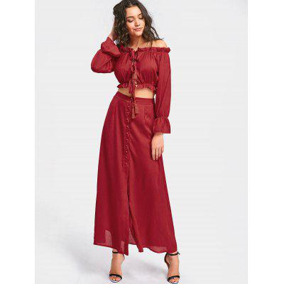 Buy DEEP RED L Ruffled Crop Top with Maxi Skirt Set for $28.54 in GearBest store