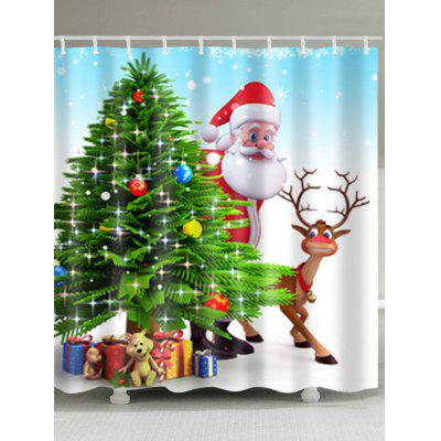 Christmas Santa Tree Print Waterproof Shower Curtain