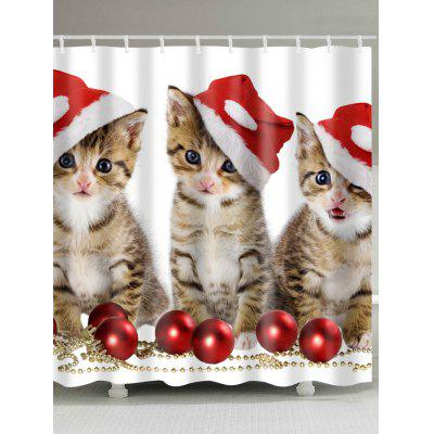 Christmas Cats Baubles Print Waterproof Shower Curtain