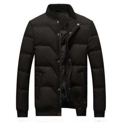 Zip and Button Padded Bomber Jacket