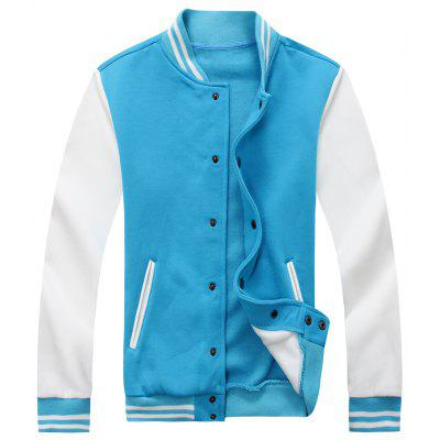Buy Color Block Mens Baseball Jacket LAKE BLUE XL for $37.96 in GearBest store