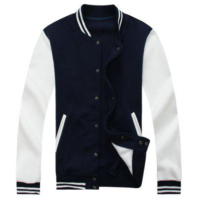 Buy Color Block Mens Baseball Jacket CADETBLUE 3XL for $37.96 in GearBest store