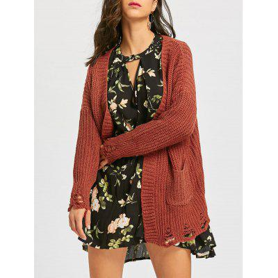 Open Front Tunic Chunky Ripped Cardigan