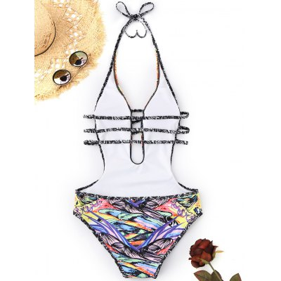 Abstract Print Ladder Cut MonokiniLingerie &amp; Shapewear<br>Abstract Print Ladder Cut Monokini<br><br>Bra Style: Padded<br>Elasticity: Elastic<br>Gender: For Women<br>Material: Chinlon<br>Neckline: Halter<br>Package Contents: 1 x Swimwear<br>Pattern Type: Print<br>Support Type: Wire Free<br>Swimwear Type: One Piece<br>Waist: Natural<br>Weight: 0.2000kg
