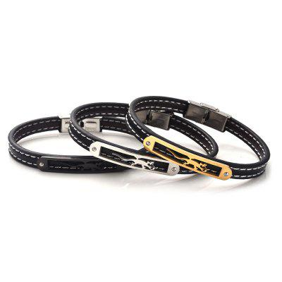Stainless Steel Faux Leather Animal BraceletMens Jewelry<br>Stainless Steel Faux Leather Animal Bracelet<br><br>Chain Type: Leather Chain<br>Gender: For Men<br>Length: 22.5CM<br>Package Contents: 1 x Bracelet<br>Shape/Pattern: Animal<br>Style: Trendy<br>Weight: 0.0200kg