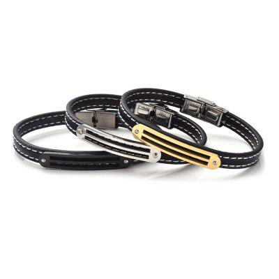 Stainless Steel Faux Leather Simple BraceletMens Jewelry<br>Stainless Steel Faux Leather Simple Bracelet<br><br>Chain Type: Leather Chain<br>Gender: For Men<br>Length: 22.5CM<br>Package Contents: 1 x Bracelet<br>Shape/Pattern: Geometric<br>Style: Trendy<br>Weight: 0.0200kg