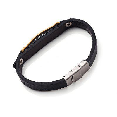 Simple Stainless Steel Faux Leather BraceletMens Jewelry<br>Simple Stainless Steel Faux Leather Bracelet<br><br>Chain Type: Leather Chain<br>Gender: For Men<br>Length: 21.3CM<br>Package Contents: 1 x Bracelet<br>Shape/Pattern: Geometric<br>Style: Trendy<br>Weight: 0.0200kg