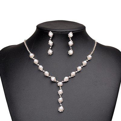 Vintage Artificial Pearl Beaded Necklace Earrings Set