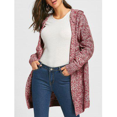 Heathered Front Pocket Hooded Knit Cardigan
