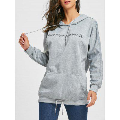 Drawstring Front Pocket Graphic Tunic Hoodie