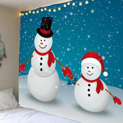 Two Christmas Snowman Pattern Waterproof Wall Tapestry