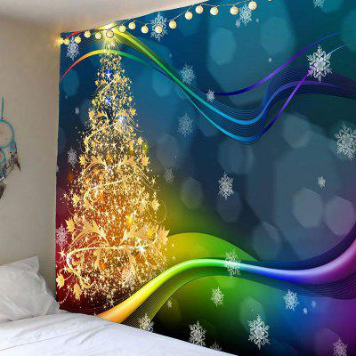 Colored Lines Christmas Tree Printed Waterproof Wall Tapestry