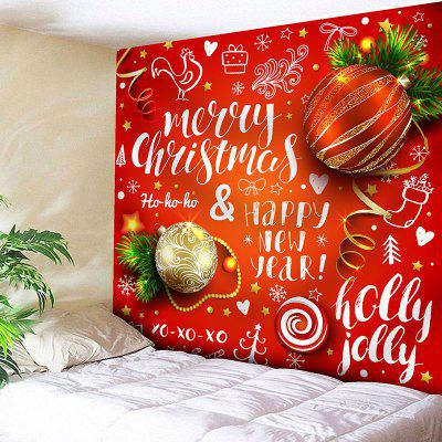Christmas Ball Letter Print Wall Decor Tapestry