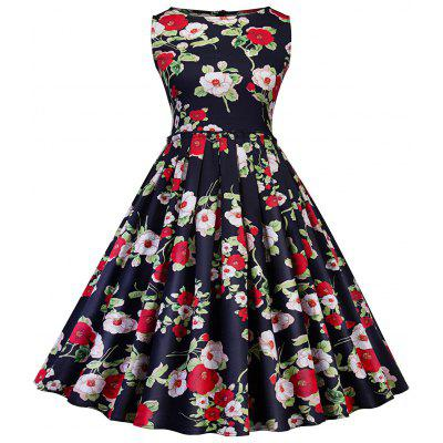 Retro Floral Printed Fit and Flare Swing Dress