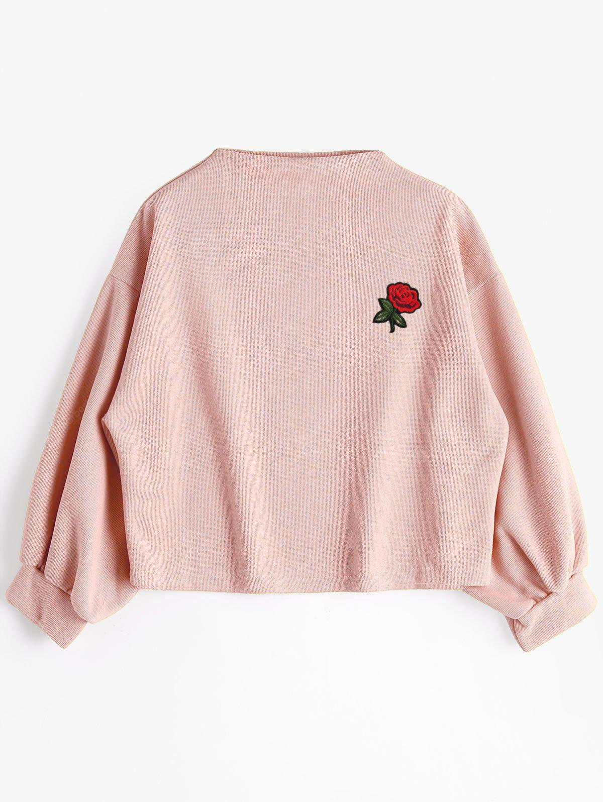 Rose Embroidered Patches Lantern Sleeve Sweatshirt