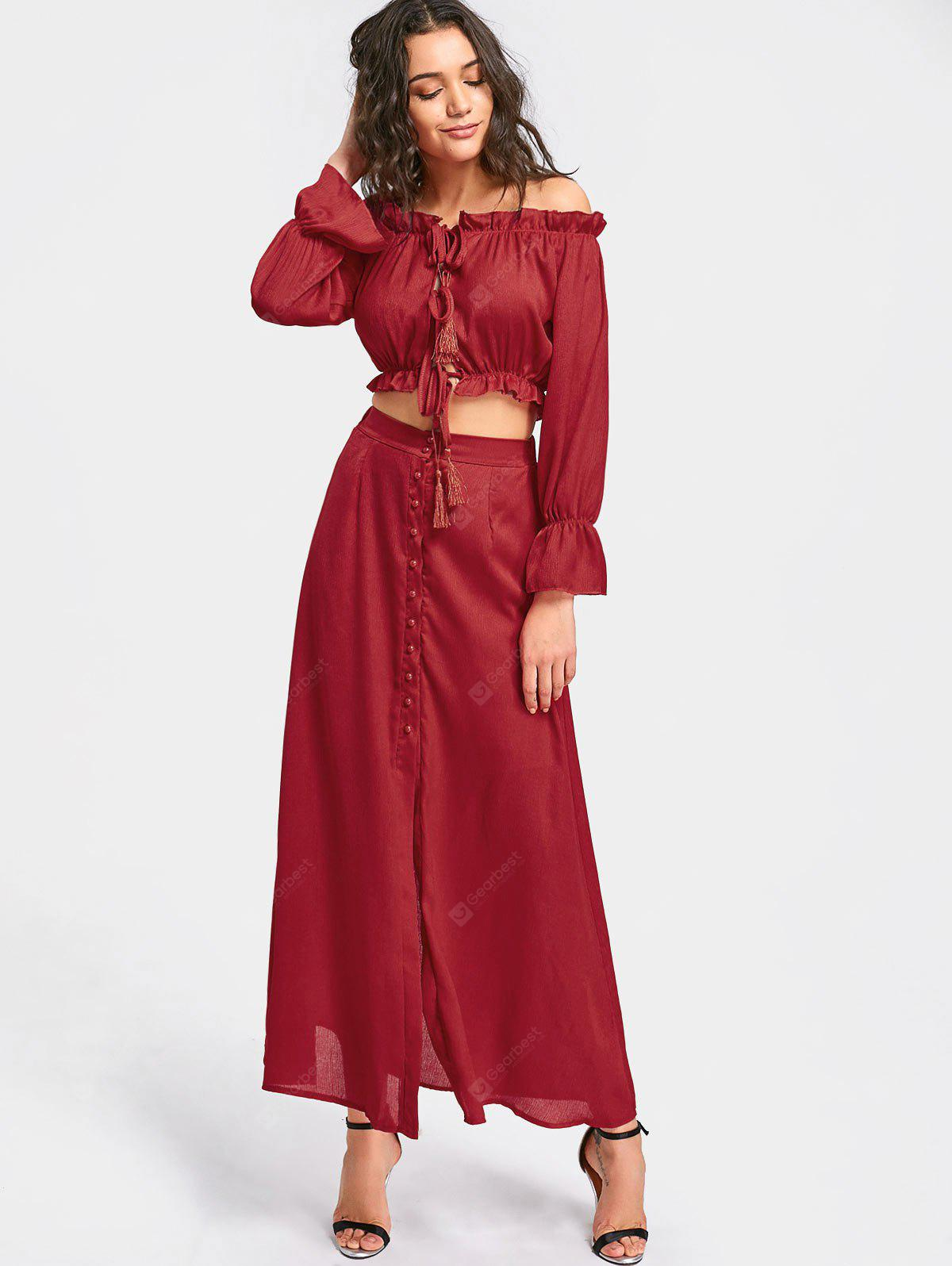 DEEP RED M Ruffled Crop Top with Maxi Skirt Set