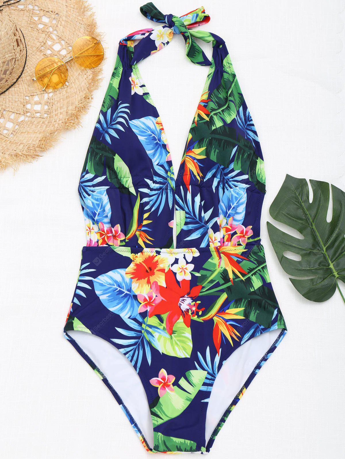 Floral Plunging Neck Monokini