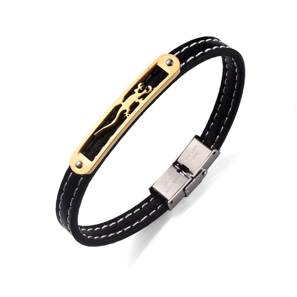 Bracelet animal en similicuir en acier inoxydable