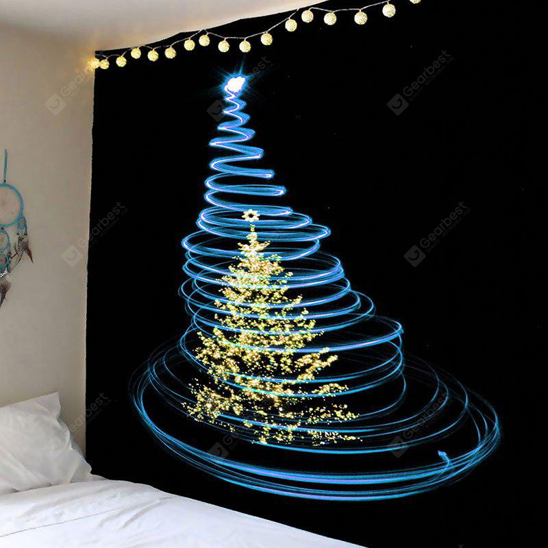 Christmas Blue Lighting Tree Printed Waterproof Wall Tapestry