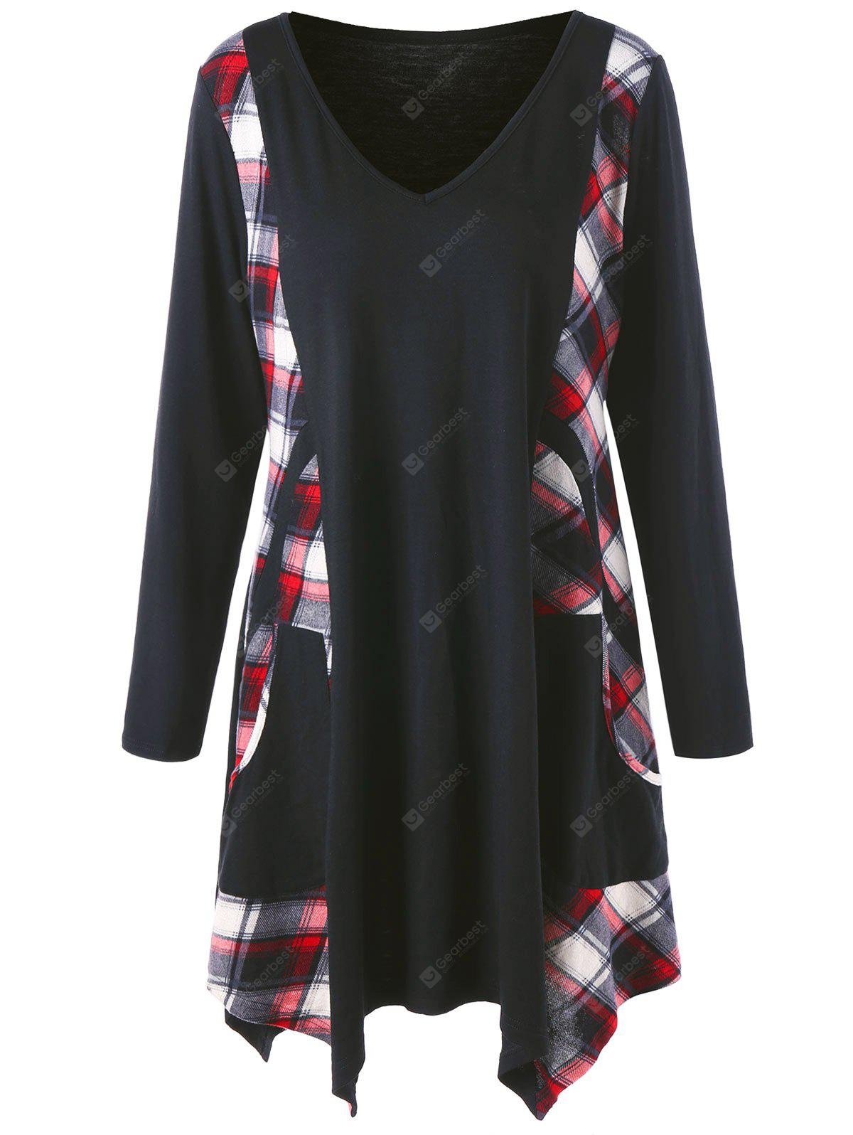 Plus Size Checked Panel Long Tunic Top