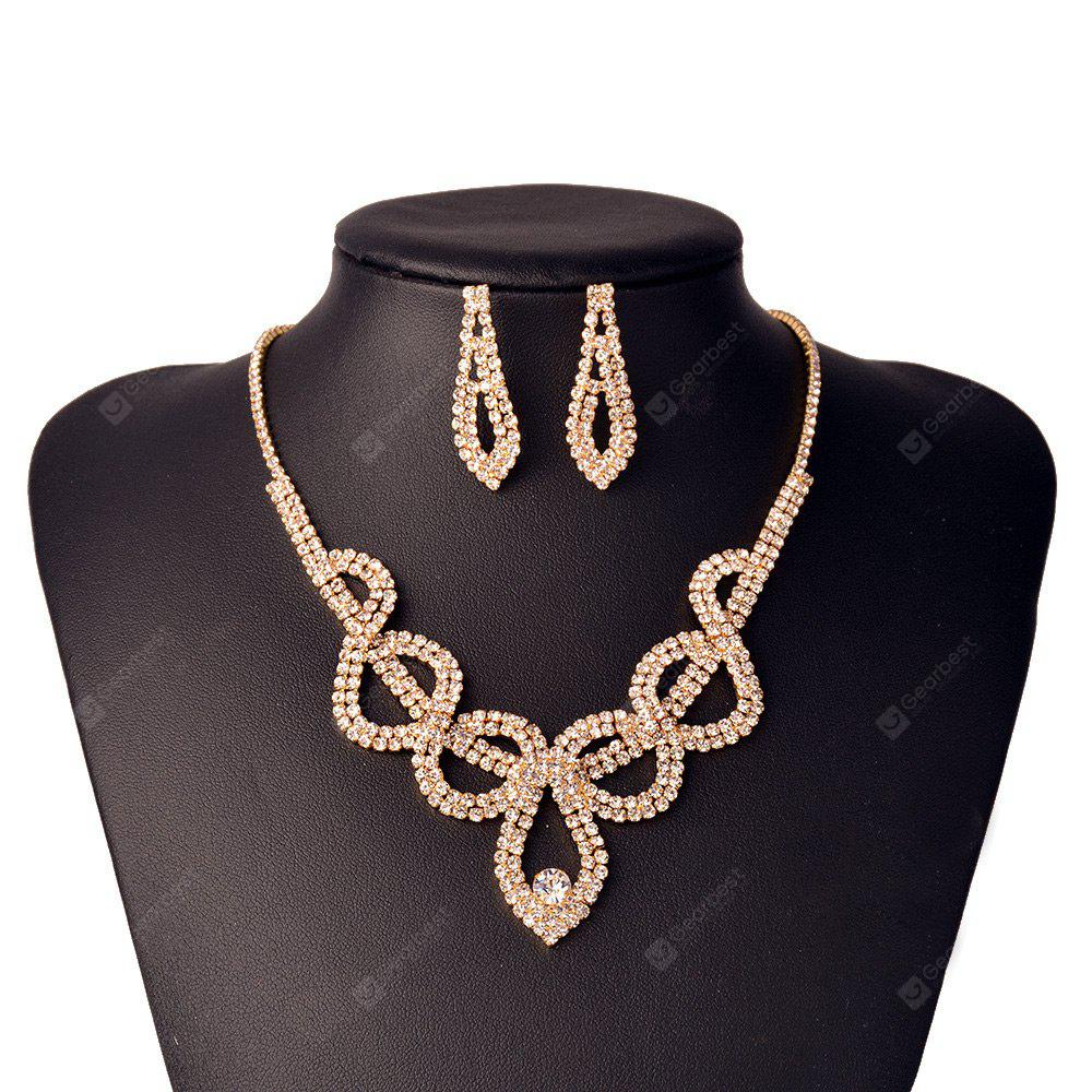 Vintage Rhinestone Embellished Hollow Out Necklace Earrings Set