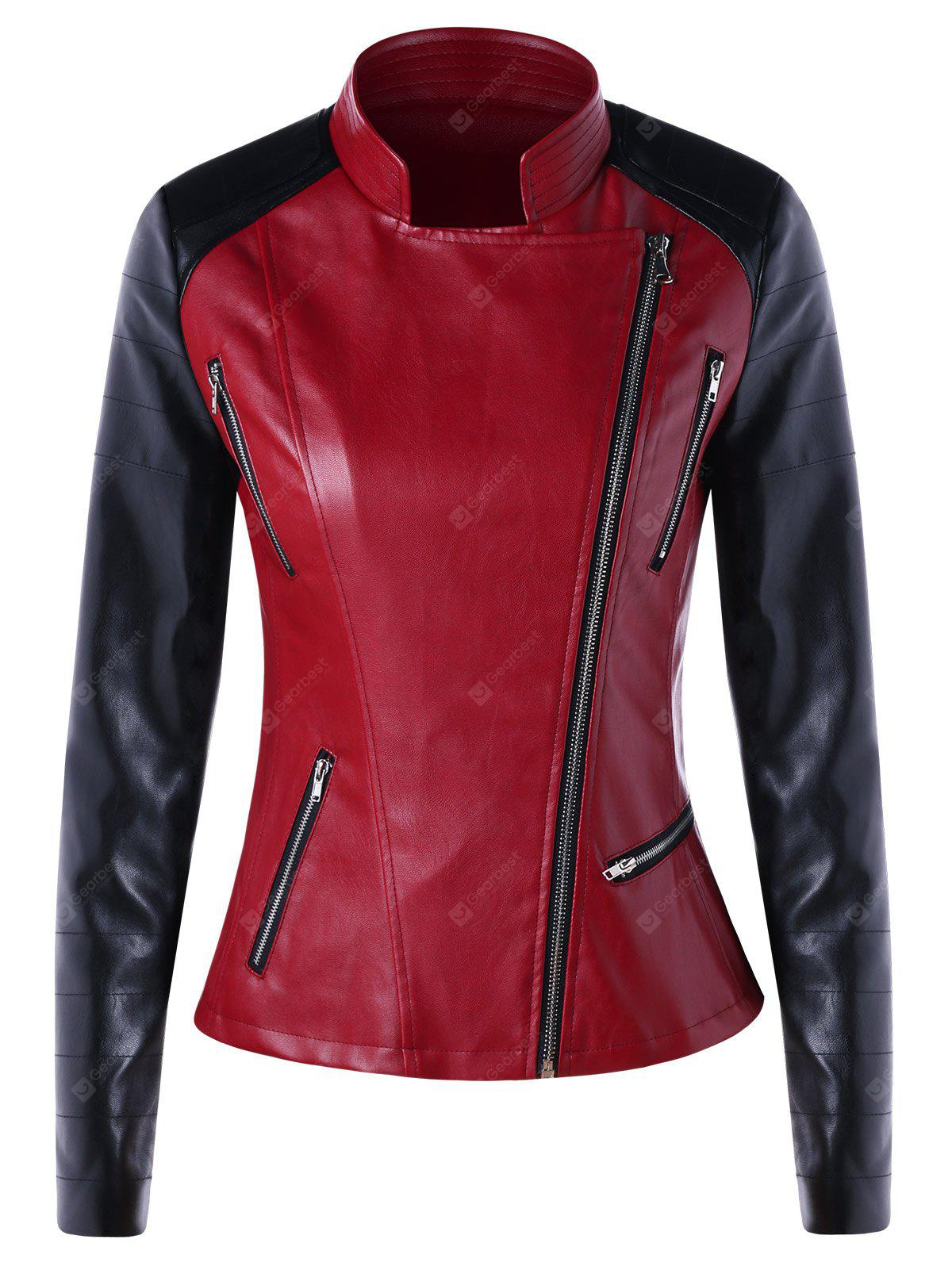 Color Block Oblique Zipper Faux Leather Jacket