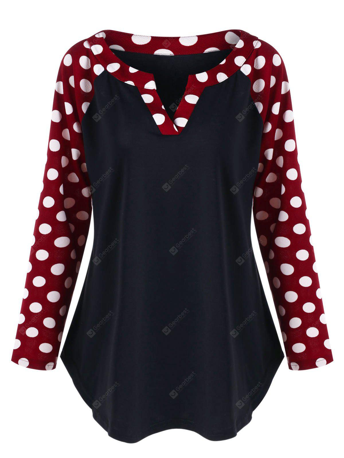 Plus Size Polka Dot Raglan Sleeve Split Neck Top