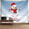 Happy Holiday Christmas Snowman Print Wall Art Tapestry - LIGHT BLUE