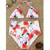 High Waisted Floral Halter Bikini - WHITE
