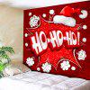 Christmas Hat Letter Print Wall Decor Tapestry - RED