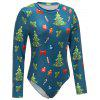 Christmas Element Print Long Sleeve Bodysuit - MAVI-YEşIL