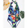 Floral Plunging Neck Monokini - FLORAL