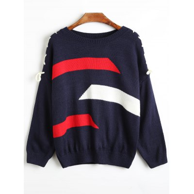 Buy Drop Shoulder Lace Up Wide Striped Sweater PURPLISH BLUE for $34.07 in GearBest store