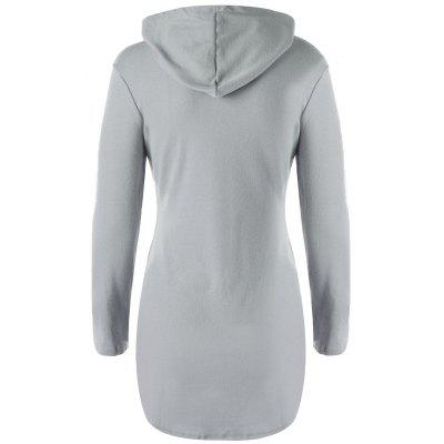 Stylish Hooded Long Sleeve Solid Color Pocket Design T-Shirt For Women stylish women s mid calf boots with solid color and fringe design