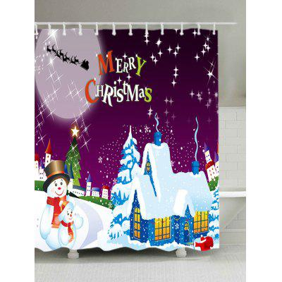 Christmas Moon Night Village Print Waterproof Shower Curtain