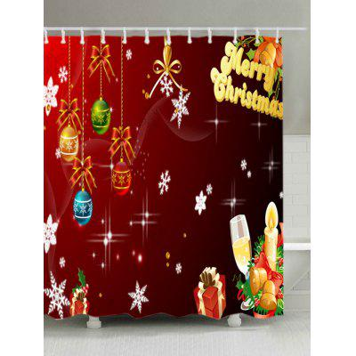 Christmas Baubles Letters Print Waterproof Shower Curtain