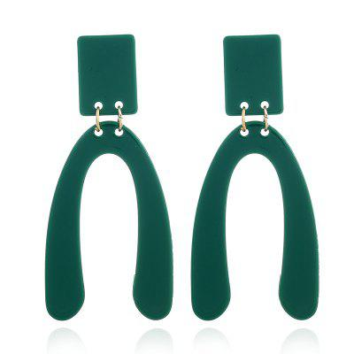 Rectangle Stud Linked Drop Earrings